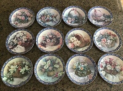 Lena Liu Basket Bouquets Plates Complete Set of 12 Bradford Exchange