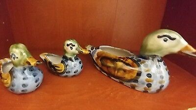Signed M. A. Hadley Ducks Pottery Two Ashtrays One Planter Nice!
