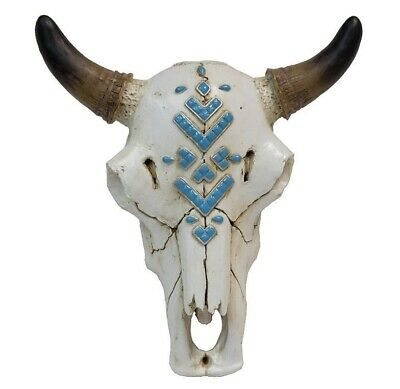 Rustic & Realistic Bull Skull With Faux Turquoise Stone Inlay - Wall Mount