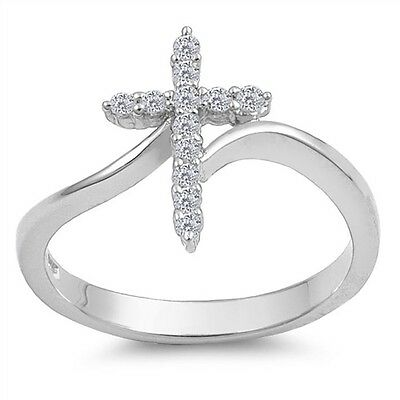 Girls 1st First Communion Sterling Silver Wave Cross Ring Size 5