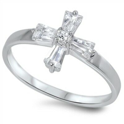 Girls 1st First Communion Sterling Silver CZ Cross Ring Size 5