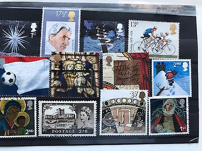 United Kingdom 12 used VF stamps, all different, mainly Christmas
