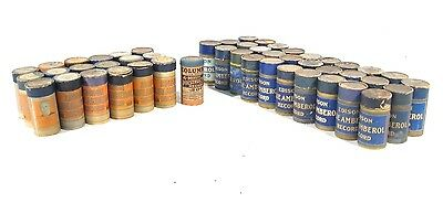Lot of 49 Pristine Edison 4-minute Blue Amberol Cylinder Records + Boxes, Lids