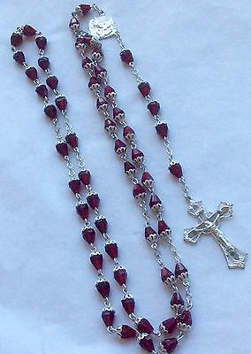 Vintage Red Crystal Bead Silver-tone Filigree Rosary Crucifix Dark Ruby Glass