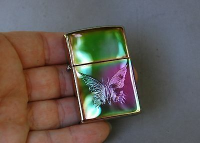 Zippo Lighter Iridescent Magical Butterfly Engraved Etched Rainbow Bradford PA