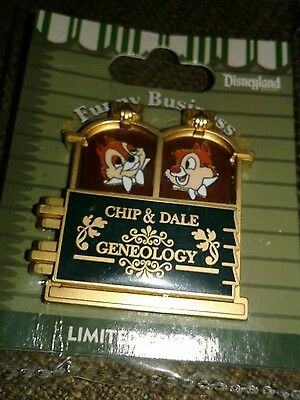 Disney DLR Pin LE 1000 Funny Business Chip n' Dale Geneology  Error Pin and