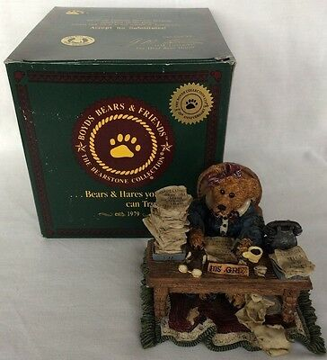 The boyds Resin collection Ms. Griz Monday 2276 Bears Friends Bearstone Vintage