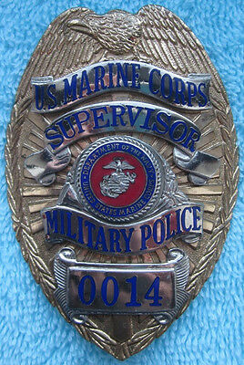 Vintage obsolete US Marine Corps Military Police Supervisor badge California