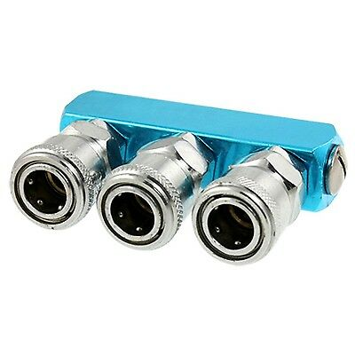 Silver Tone 3 Way Air Hose Pass Quick Coupler Fixed with Aluminum Socket