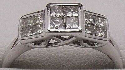 Solid 9Ct White Gold Natural Diamond Engagement/dress Ring