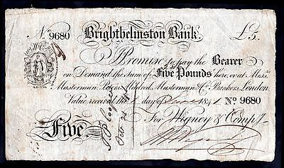Brighthelmstone Bank, Five Pounds, 1-6-1841, For; Wigney & Compy, Good Fine +.