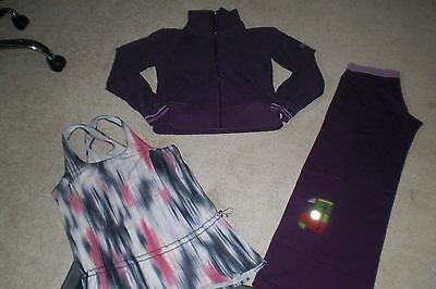 Lot of Lululemon Yoga Pants, Classic Jacket and Tank Top sz 10