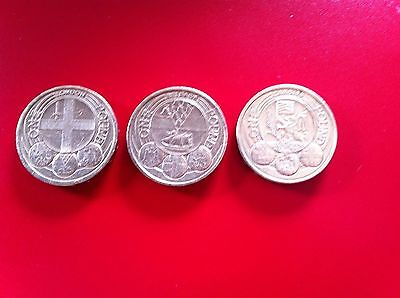 Rare 1 pound coin capital cities set of 3 coins Cardiff Belfast London