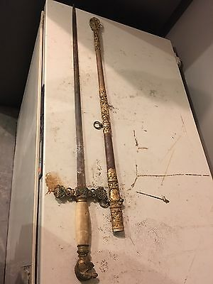 Antique Ancient Historical Sword Rusted Weathered Decorative