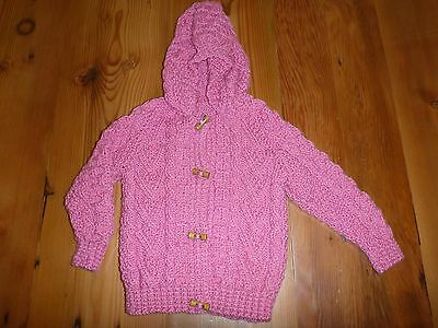NEW Hand Knitted Hooded Pink Girls Cardigan Size 1-2 BNWOT