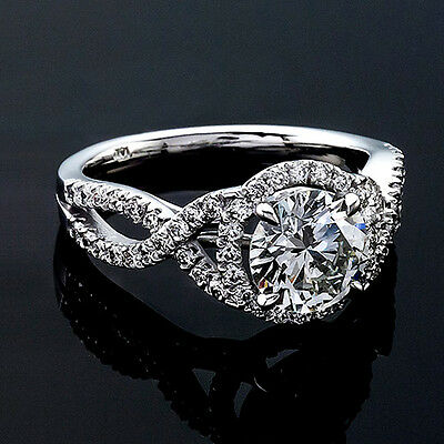 1.00 Round Cut Diamond Solitaire Engagement Ring SI1/D 14K White Gold