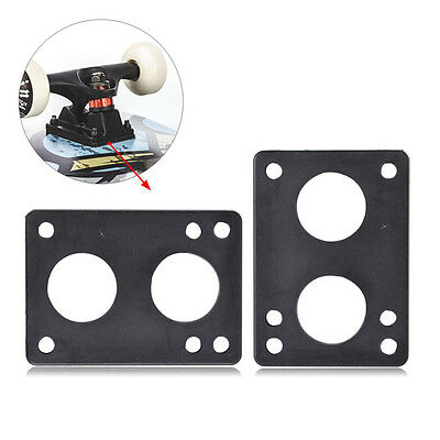 Pair of 6mm Rubber Soft Skateboard Longboard Riser Shock Pads Shockpads Black