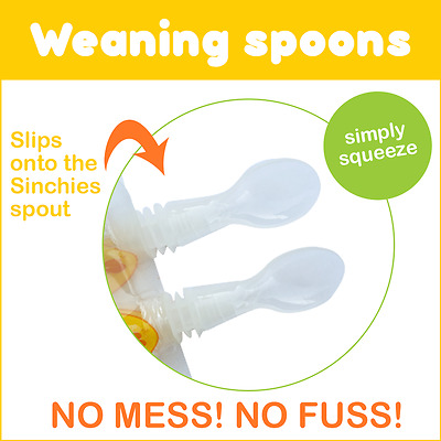 NEW Sinchies 2 x pack of Reuseable Baby Food Weaning Spoons - FREE Snack pouch!
