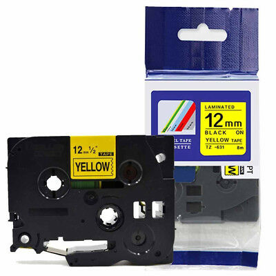 Compatible Brother TZ-631 P-Touch Black On Yellow Label Tape 12mm x 8m TZe-631