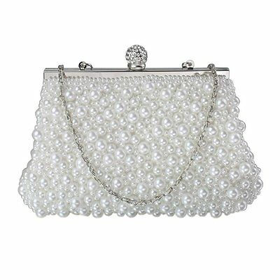 White Pearl Beaded Diamante Bridal Wedding Prom Party Clutch Bag New