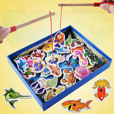 Baby Kids Magnetic Fishing Game 3D Jigsaw Puzzle Board Wooden Educational Toy