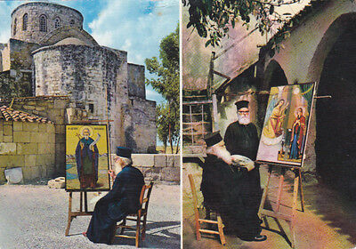 Cyprus Postcard Famagusta Saint Barnabas Monastery And Monks Icon Painters
