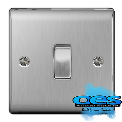 BG Nexus NBS12 Brushed Steel/Satin Chrome Single Light Switch 1 Gang 2 Way
