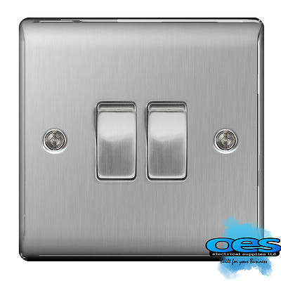 BG Nexus NBS42 Brushed Steel/Satin Chrome Twin Light Switch 2 Gang 2 Way