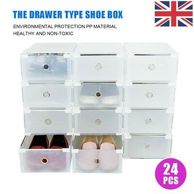 24 x plastic stackable Clothes Shoe Boxes Organiser Drawer Foldable Storage Box