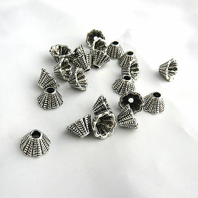 22 Silver Tone Bead caps, 8x5mm Accent spacer bead, earrings, choker decoration