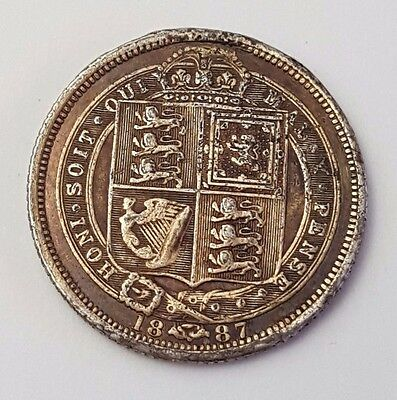 Dated : 1887 - Silver - Sixpence / 6d - Coin - Queen Victoria - Great Britain