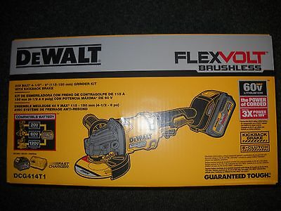 "DeWalt DCG414T1 60V Max 4 1/2 - 6"" Cordless Grinder Kit with Kickback Brake NEW"