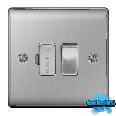 BG Nexus NBS50 Brushed Steel/Satin Chrome Switched Fused Spur Connection Unit