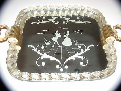 Art Deco  Ercol Barovier Etched Murano Glass Mirrored Tray