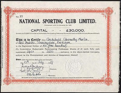 National Sporting Club Ltd., pair, Preference and Ordinary Shares, 1937