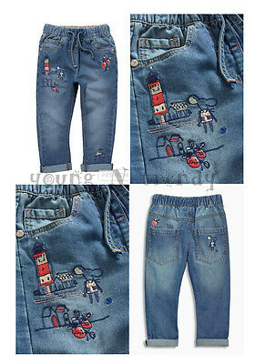 BNWT NEXT 5-6 years girls LIGHTHOUSE*STRAWBERRY BLUE SUMMER JEANS