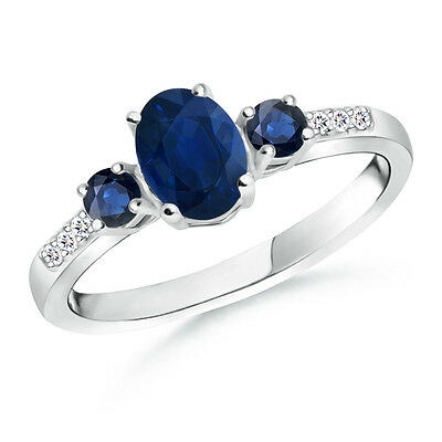 Natural Oval Sapphire Three Stone Engagement Ring with Diamond 14k White Gold