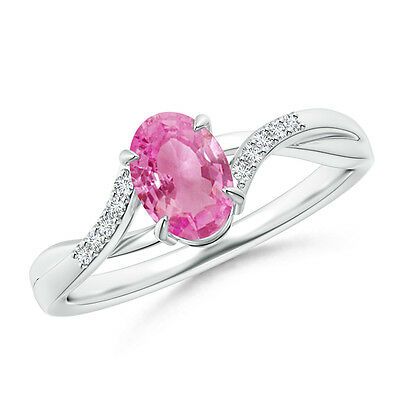 Natural Pink Sapphire Solitaire Engagement Ring Diamond 14k White Gold Size 3-13