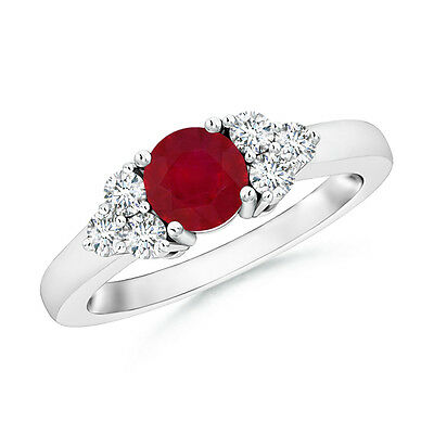 Solitaire Round Natural Ruby with Diamond Engagement Ring in 14k White Gold