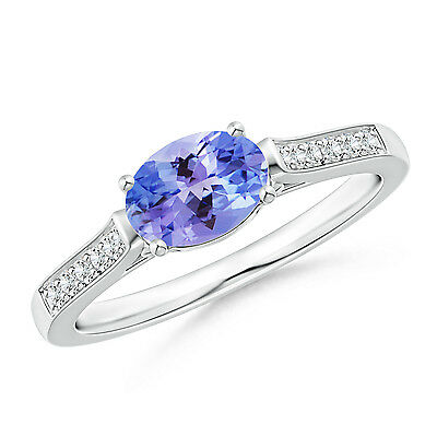 Natural Tanzanite Solitaire Engagement Ring With Diamond 14k White Gold Size 6