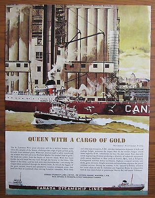 Stunning 1961 Canada Steamship Lines Ad Mv Murray Bay Loading Grain St Lawrence