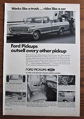 1969 Canadian Truck Ad Ford Mercury Pickup Canada Dealer Ad