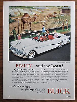 1956 Canadian Car Ad Buick Roadmaster Convertible Zoo Camels