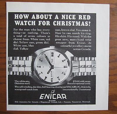 1969 Canadian Ad Enicar Watch 24 Jewels Incabloc Swiss Made