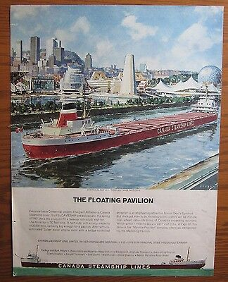 Stunning 1967 Canada Steamship Lines Ad Mv Richelieu Expo World's Fair Montreal