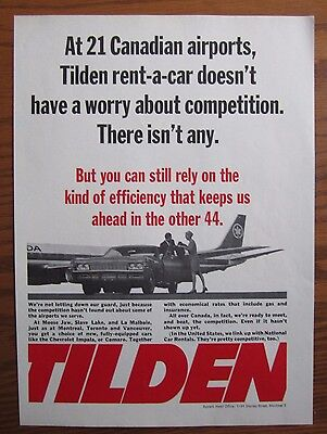 1968 Canadian Car Ad Chevrolet Tilden Rent A Car Air Canada Jet 21 Airports