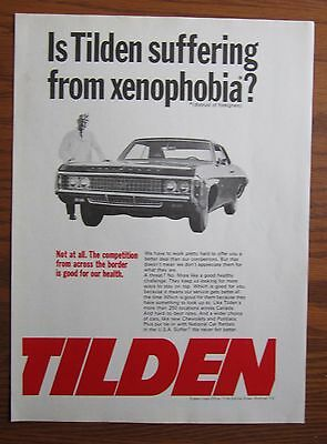 1969 Canadian Car Ad Chevrolet Impala Canada  Tilden Rent A Car Ad