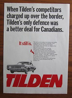 1969 Canadian Car Ad Chevrolet Impala Canada  Tilden Rent A Car Ad Flag