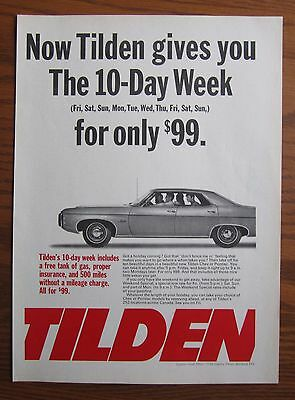 1969 Canadian Car Ad Chevrolet Impala 4 Door Tilden Rent A Car Ad