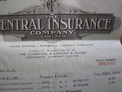 1931 Central Insurance Company Policy London England Moncton Canada
